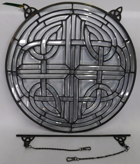 "18"" ROUND BEVELED LEADED GLASS WINDOW ART PANEL"