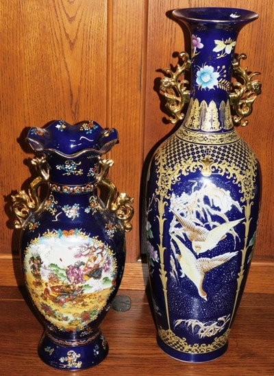 TWO COBALT & GOLD VASES WITH CARTOUCHES