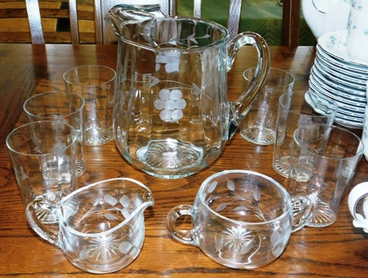 1940's CRYSTAL ETCHED PITCHER, TUMBLERS, SUG-CR