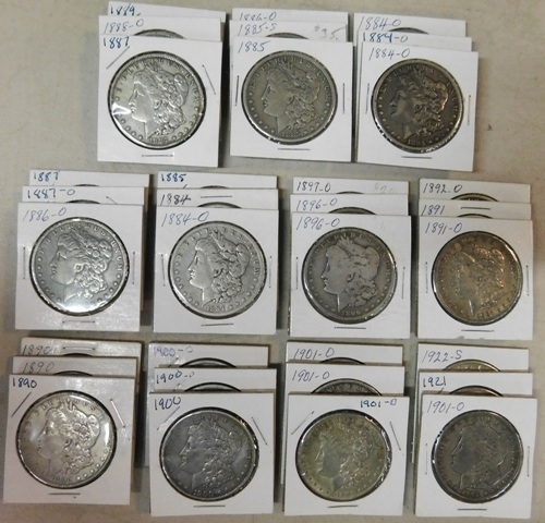 33 ~1884-1921 MORGAN SILVER DOLLARS + ONE 1922 LIBERTY