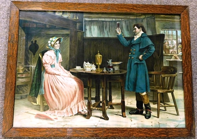 FRAMED 1897 PRINT - COLONIAL COUPLE AT TABLE