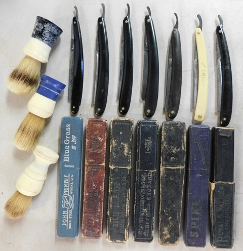 COLLECTION~ 7 VINTAGE STRAIGHT RAZORS & BOXES...