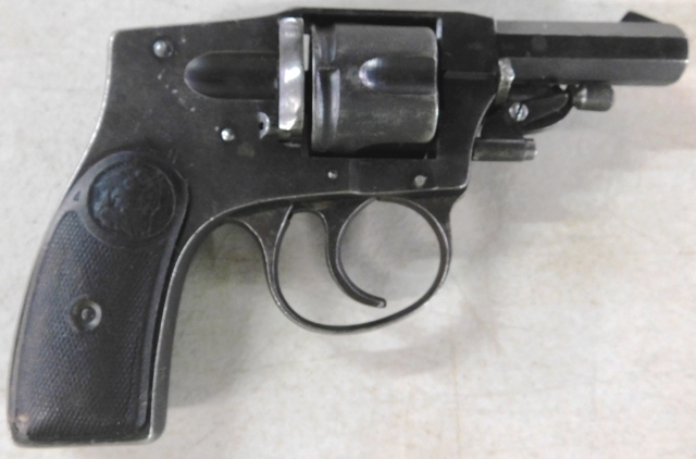 View 3~ILLINOIS ARMS HAMMERLESS REVOLVER, 32cal, OCTAG. BARRELL