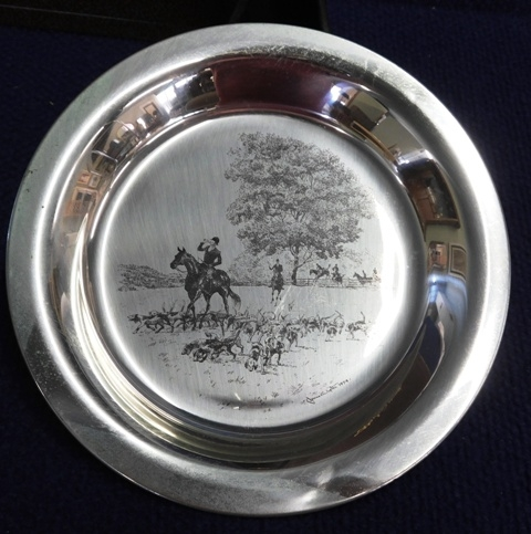RIDING TO THE HUNT Sterling Commer. Plate