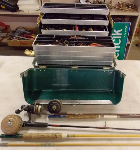 RODS & REELS + TACKLE BOX W/CONTENTS