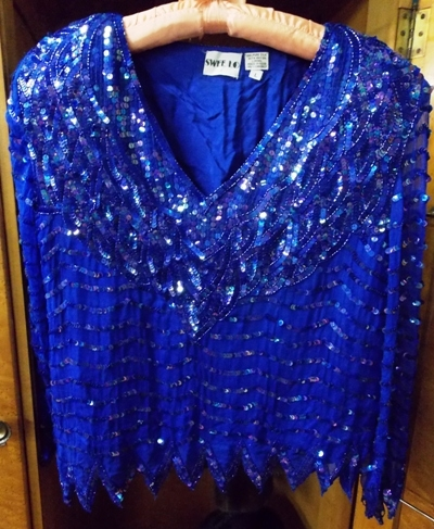 """SWEE LO 100"""" PURE SILK BLUE SEQUIN BLOUSE"""