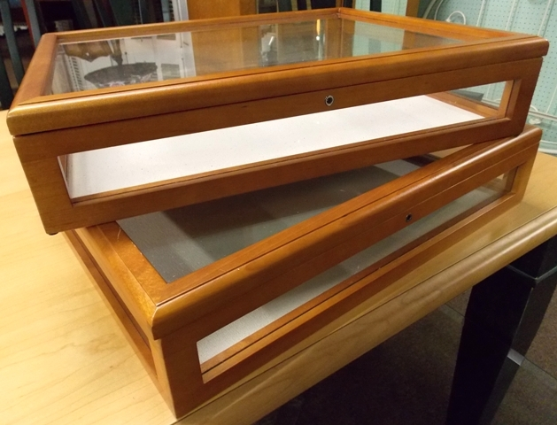 """THREE 20X16X4-1/2""""T DISPLAY CASES WITH"""