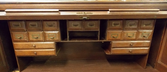 """View 3~52"""" S-CURVE 1900'S ROLL TOP DESK"""