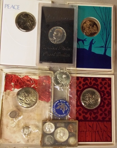 COMMERATIVE XMAS COINS; EISENHOWER $1.00 PROOF...