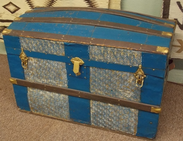PAINTED, TIN COVERED LATE 1800's TRUNK
