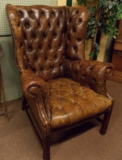 LARGE SIZE LEATHER WING-BACK ARM CHAIR