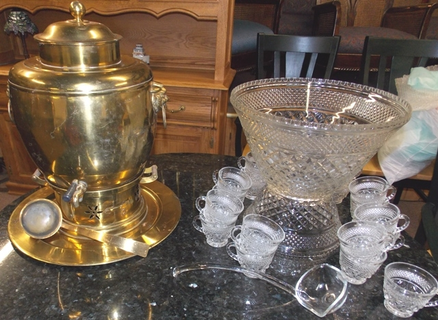 WEXFORD PUNCH BOWL, STAND & 17 CUPS...