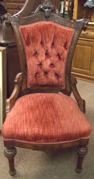 LATE 1800's CARVED WALNUT SIDE CHAIR