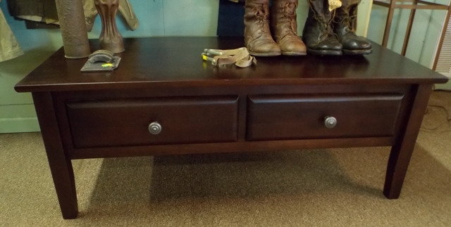 DARK STAINED 2-DRAWER COFFEE TABLE