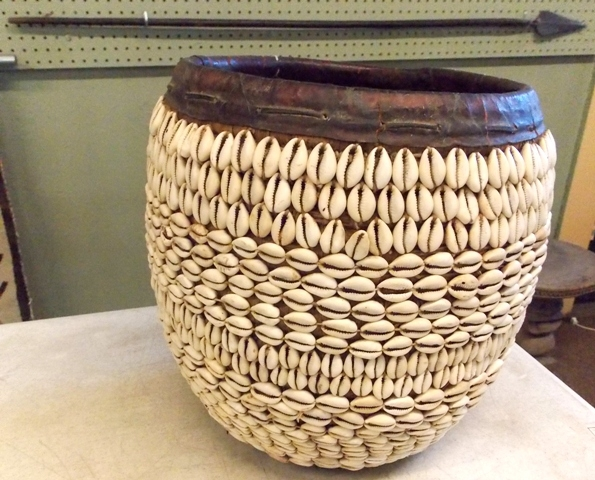 COWRIE SHELL BASKET FR NIGERIA + CENTRAL AFRICAN...