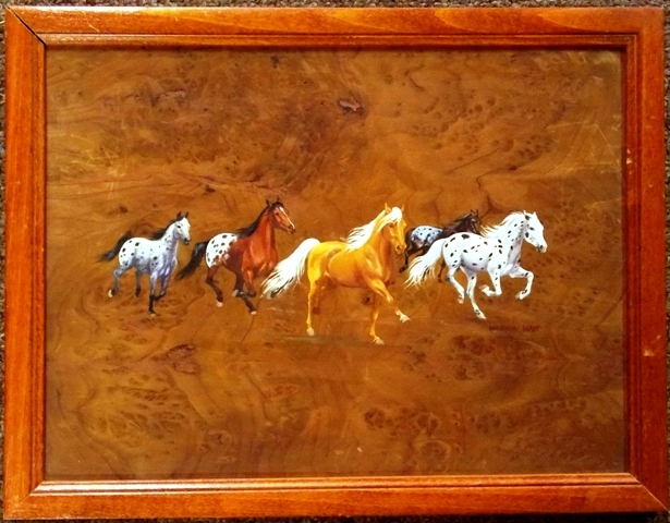 OIL ON BURL WOOD (RUNNING HORSES) BY MARNA HAFF
