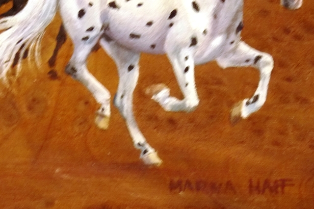 View 2~OIL ON BURL WOOD (RUNNING HORSES) BY MARNA HAFF