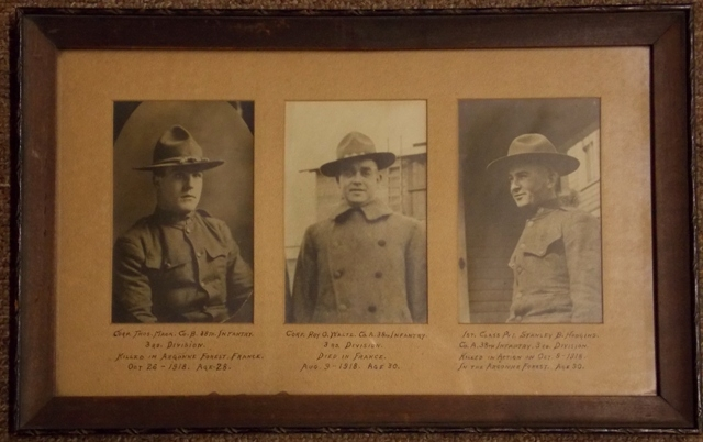 3 PHOTOS COMMERATING WW I SOLIDERS KILLED IN ACTION