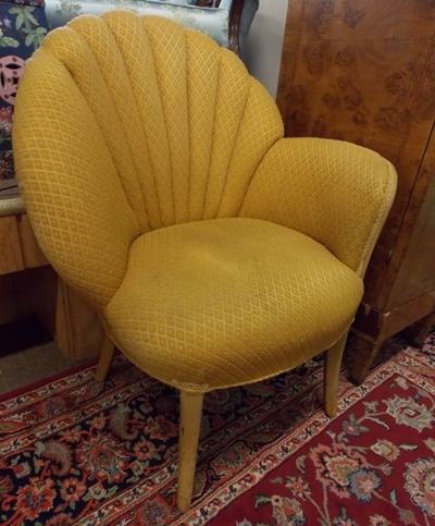 MID-CENTURY MODERN CURVED CLAM SHELL FAN BACK UPHOLSTERED ACCENT CHAIR