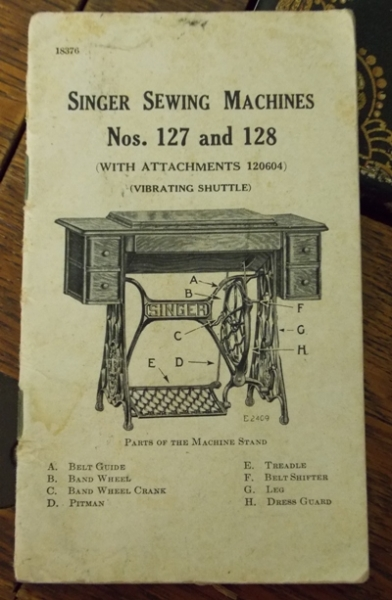 SINGER SEWING MACHINE, NO. 127-128 INSTRUCTION BOOKLET
