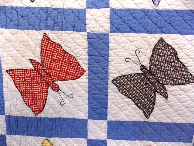 """View 2~68x80"""" 1930's BUTTERFLY QUILT"""