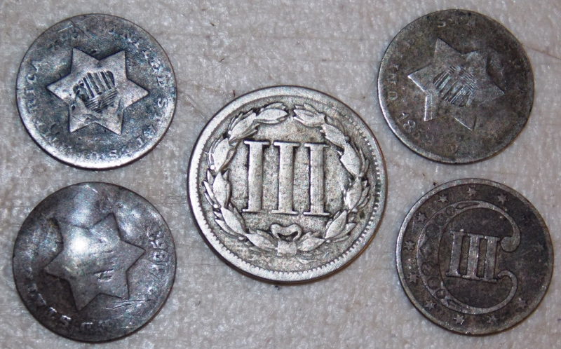 SILVER & NICKLE 3-CENT PIECES