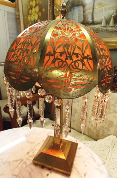 1920's BRASS TABLE LAMP & SHADE - Lighted