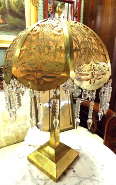 1920's BRASS TABLE LAMP & SHADE - Not Lighted