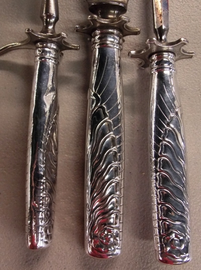 View 2~EARLY SILVERPLATE CARVING SET