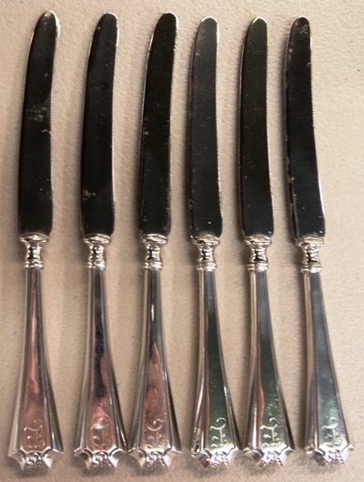 6 STERLING HANDLED FRUIT KNIVES WITH...