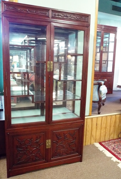SECOND OF A PAIR ROSEWOOD CURIO DISPLAY CABINETS With...
