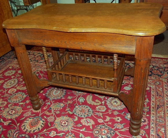 1900'S SOLID OAK LIBRARY TABLE