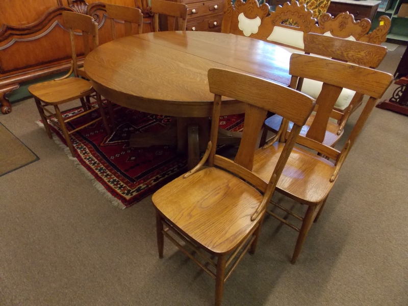 """VIEW 2~ 1900's 54"""" SOLID WOOD DINING TABLE & + 6 CHAIRS"""