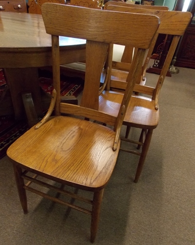 """VIEW 3~ 1900's 54"""" SOLID WOOD DINING TABLE & + 6 CHAIRS"""