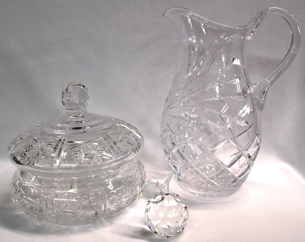 CUT CRYSTAL PITCHER, CANDY DISH, APPLE WITH HEART