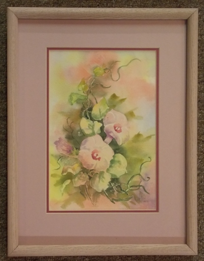 """12x16"""" FR-MAT HANDPAINTED CHINA ROSES PLAQUE"""