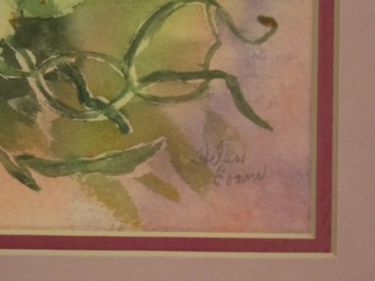"""View 2~12x16"""" FR-MAT HANDPAINTED CHINA ROSES PLAQUE signed C. Woods"""