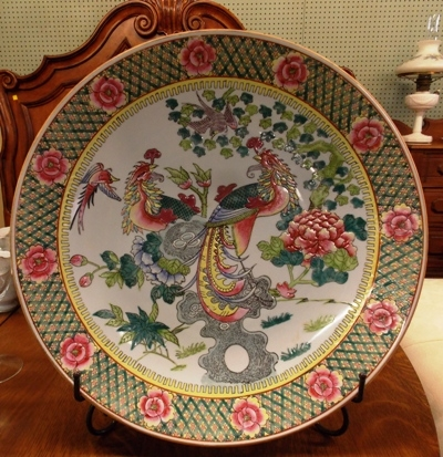"""18"""" ORIENTAL CHARGER, PEA FOWL & FLORAL DESIGN"""