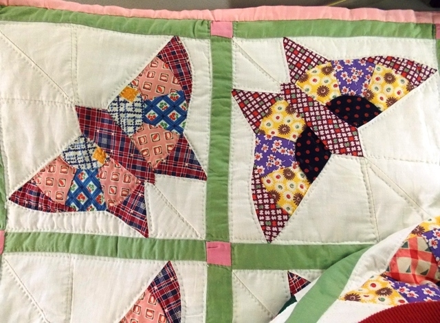 """View 2~1930's DECO BUTTERFLY 76x86"""" Handmade Quilt"""