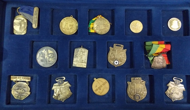 View 4~COLLECTION 32 WATCH FOBS, SERVICE MEDALS, TOKENS