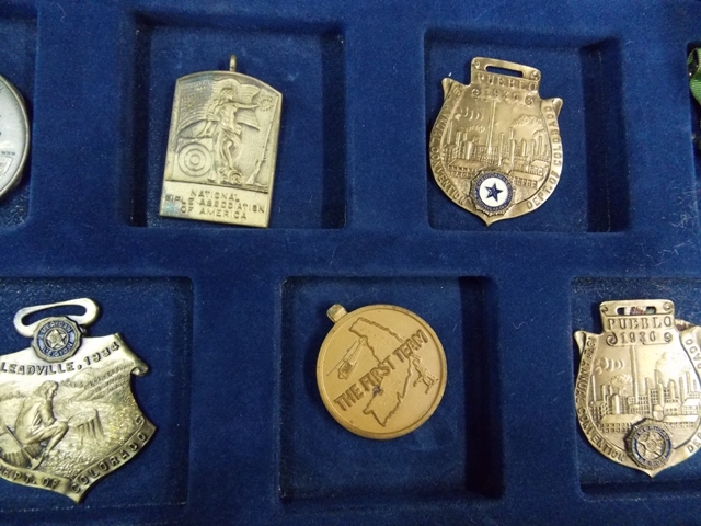 View 5~COLLECTION 32 WATCH FOBS, SERVICE MEDALS, TOKENS