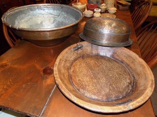 SLANT SIDE WOOD BOWL+ TINNED COPPER STRAINER BOWL AND...