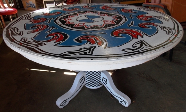 """54"""" ROUND DINING TABLE, ARTIST PAINTED"""
