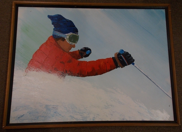 SNOW SKIER OIL ON CANVAS BY BILL FAUCHT