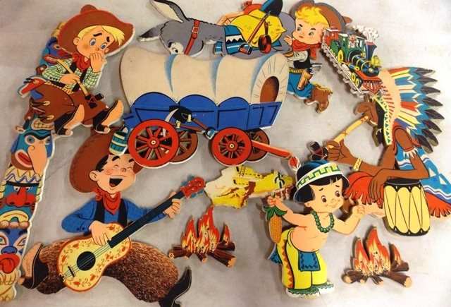 THE DOLLY TOY CO. COWBOY & INDIANS PIN UPS