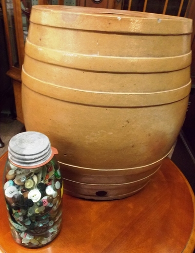 ENGLISH OVAL POTTERY CROCK; JAR OF BUTTONS