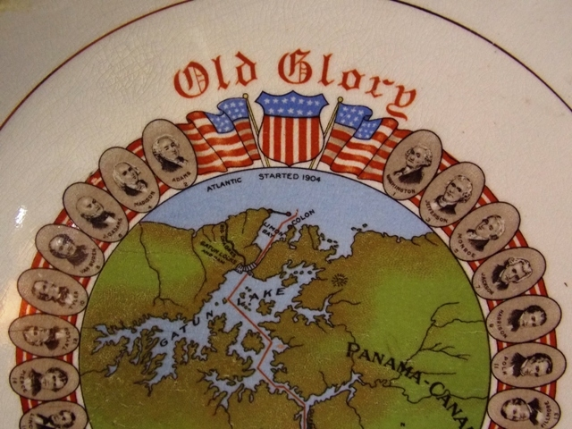 OLD GLORY-PANAMA CANAL PLATE BORDERED BY PRESIDENTS