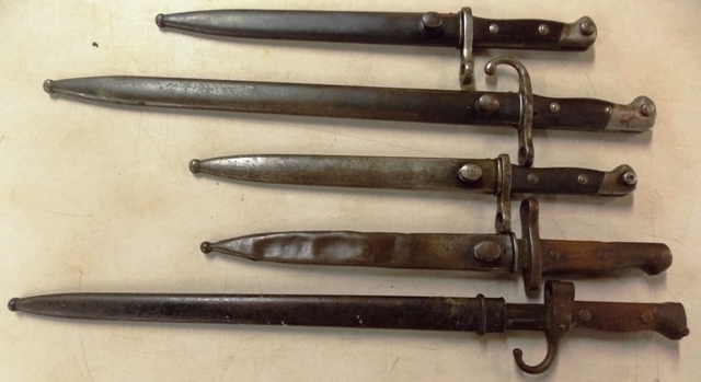 5 MISC. BAYONETS TO BE SOLD IN ONE LOT