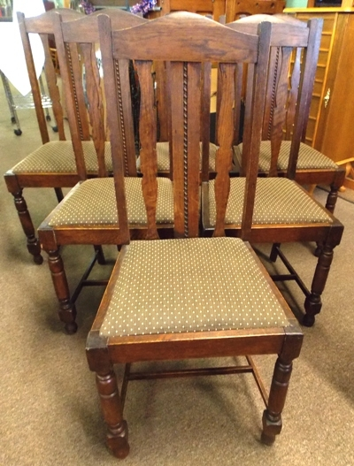 SET 6 ENG.ISH OAK DINING CHAIRS