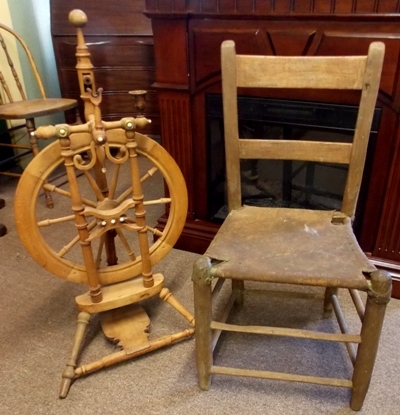 LATE 1800's SPINING WHEEL + PRIMITIVE SIDE CHAIR
